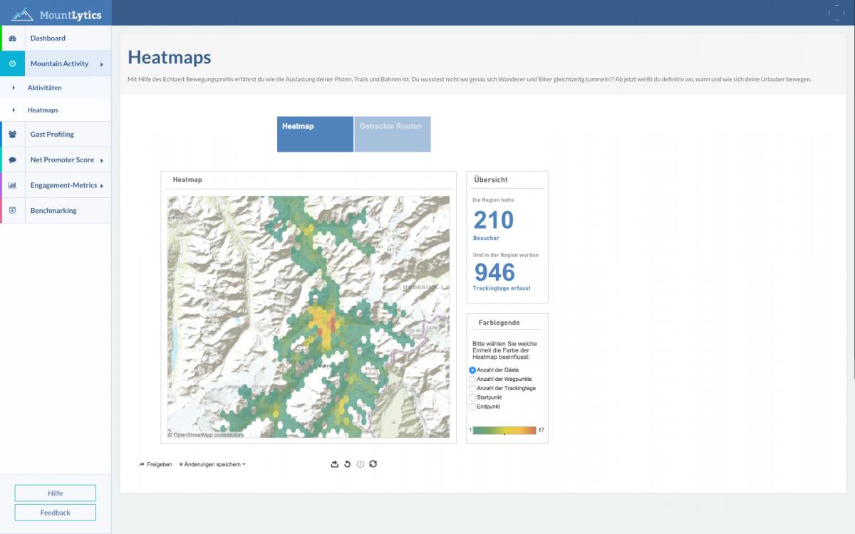 Heatmap der geographischen Verteilung von App-Nutzern