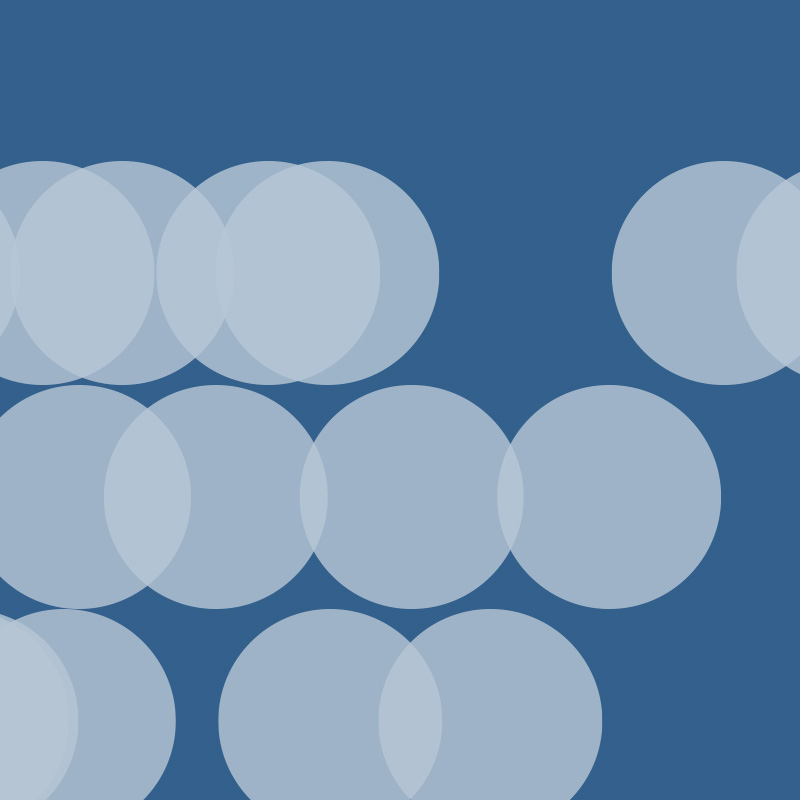 White circles on blue background