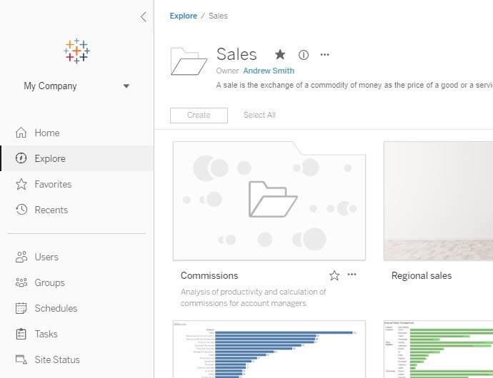 A new home page for Tableau Server and Tableau Online makes browsing