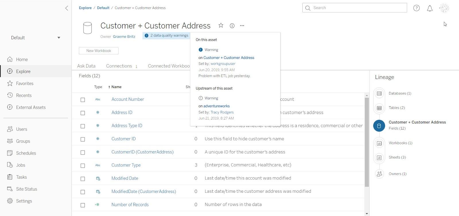 Tableau Catalog product screenshot