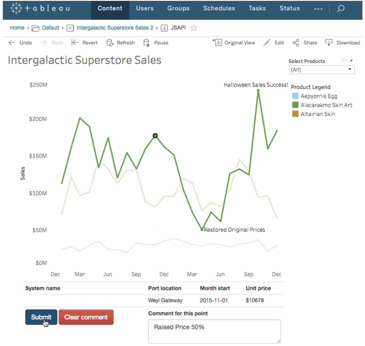 Leverage Tableau's getData() API feature to add commenting