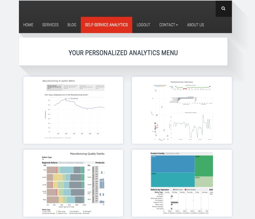 A manufacturing website can display personalized analytics content based on the user logged in, powered by Tableau's row-level security features.