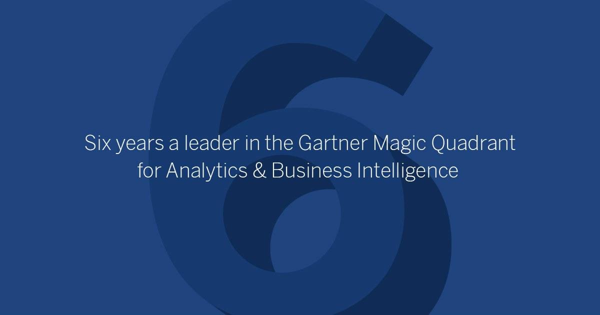 Tableau: Sixth year as a Gartner Magic Quadrant Leader