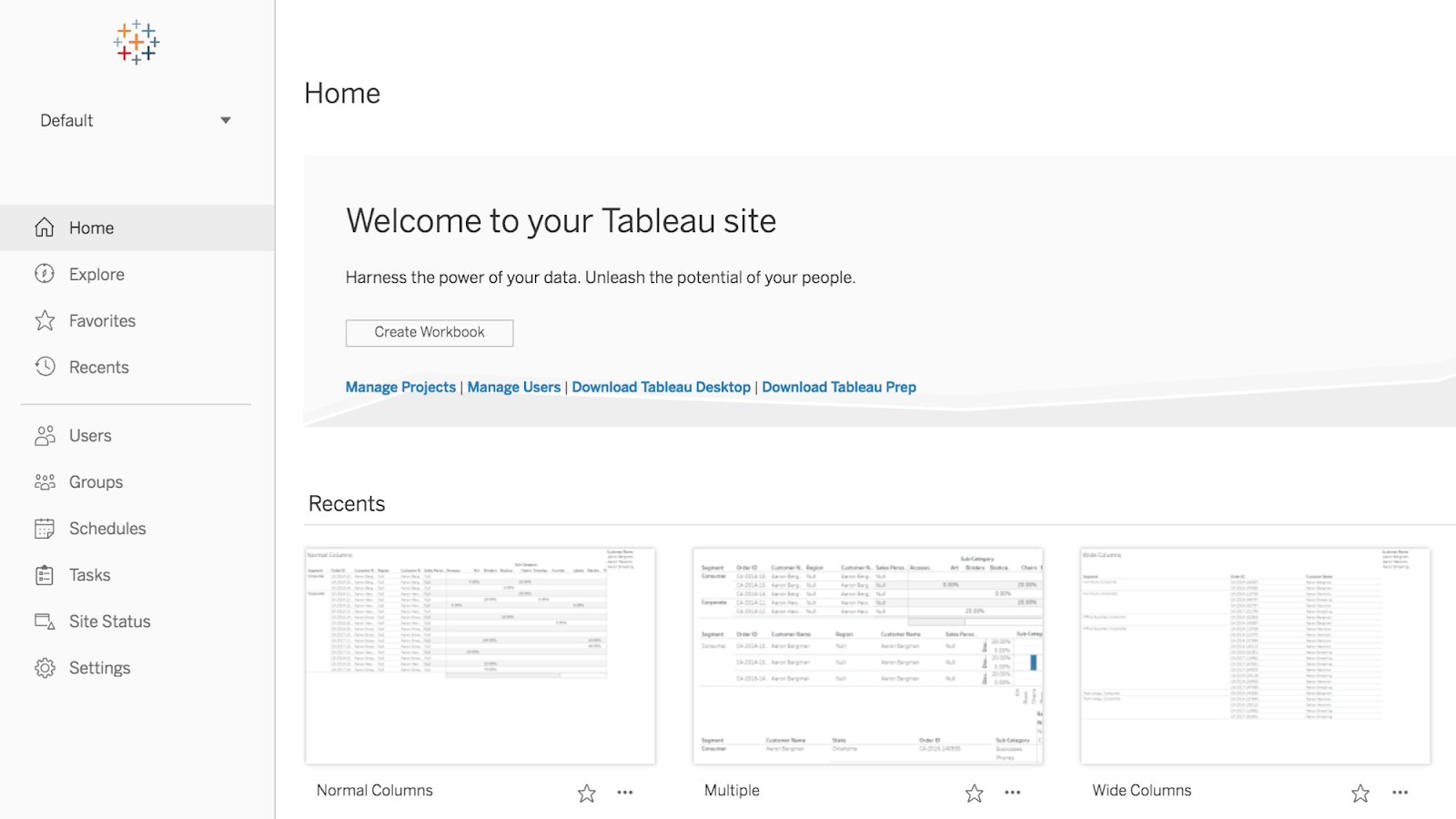 Tableau content browsing experience