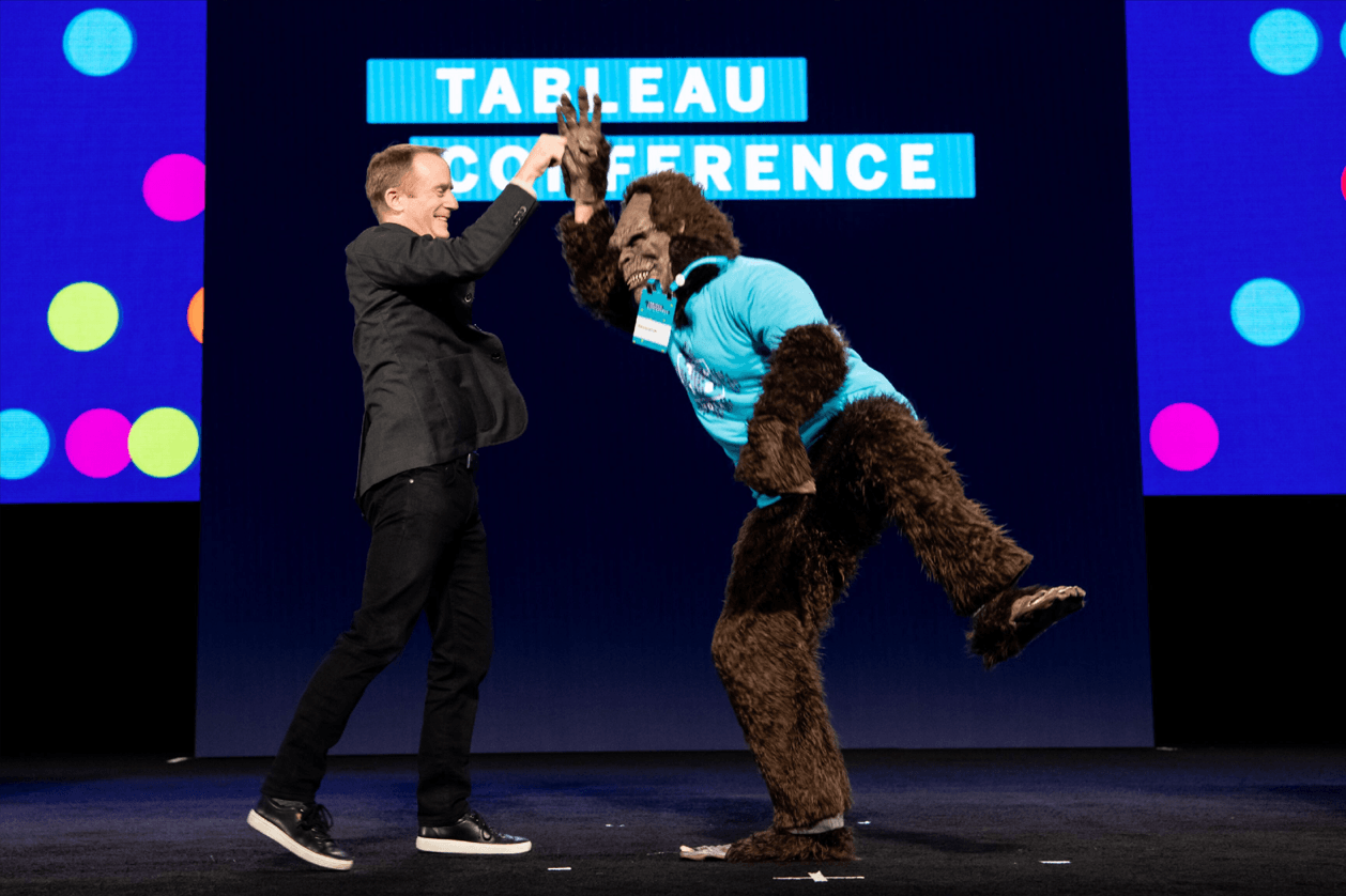 Sasquatch high-fives CTO Andrew Beers at the TC18 Devs on Stage keynote