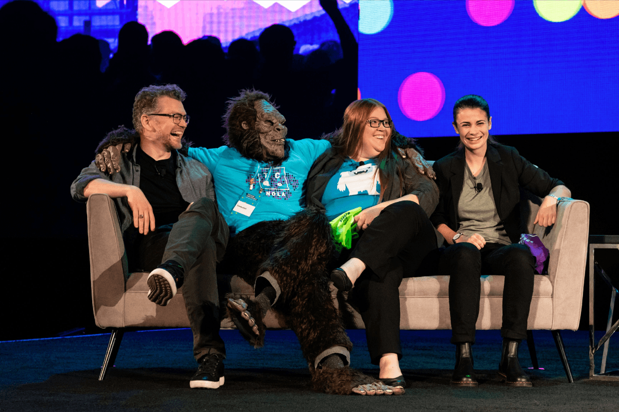Sasquatch hangs out stage with Tableau developers at the end of the TC18 Devs on Stage keynote