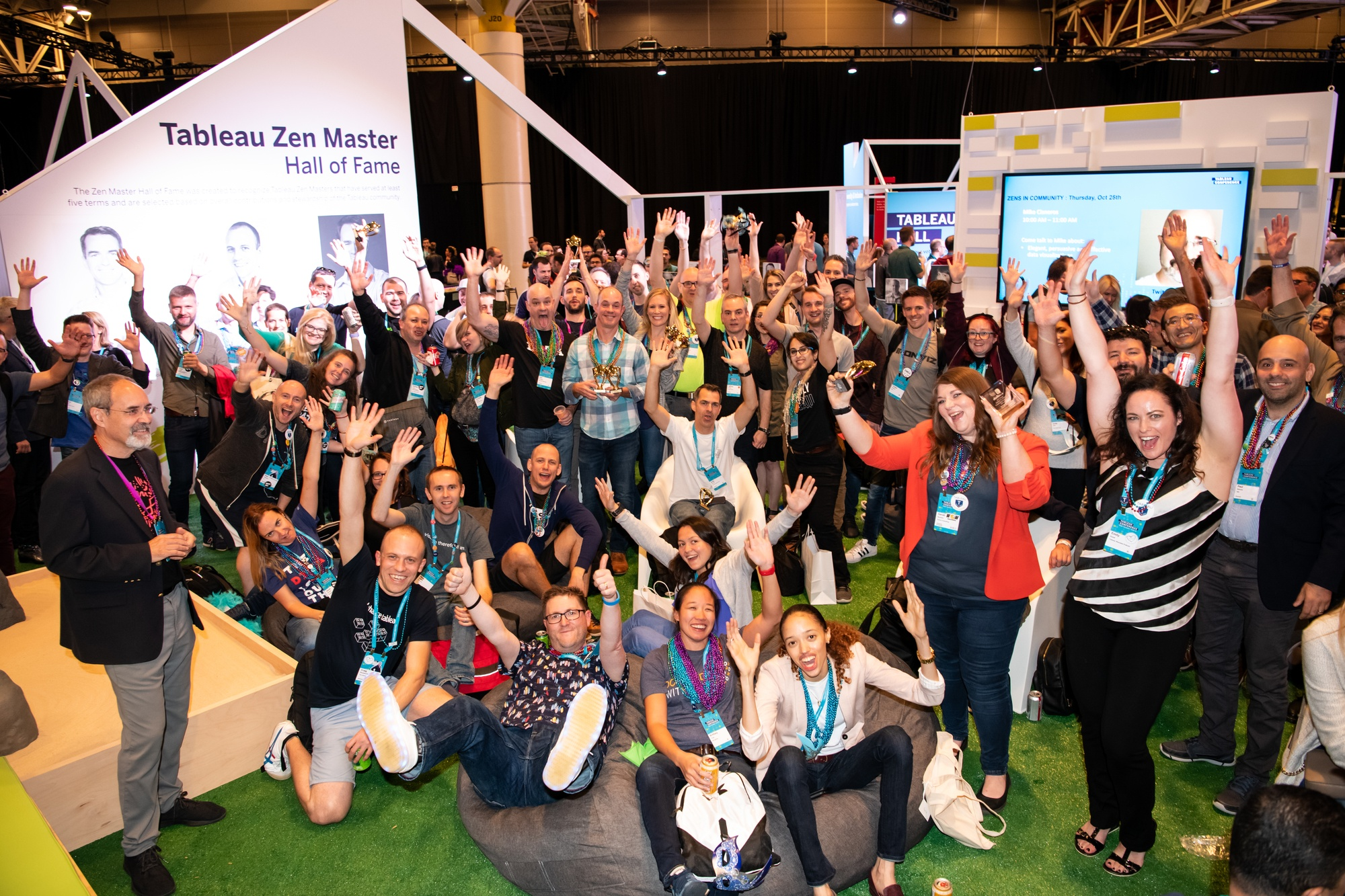Tableau customers and community members gather to celebrate in the Data Village at Tableau Conference 2018