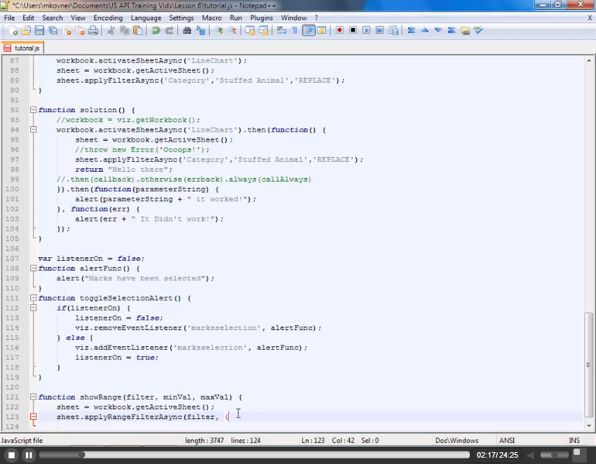 Javascript API Advanced Filtering