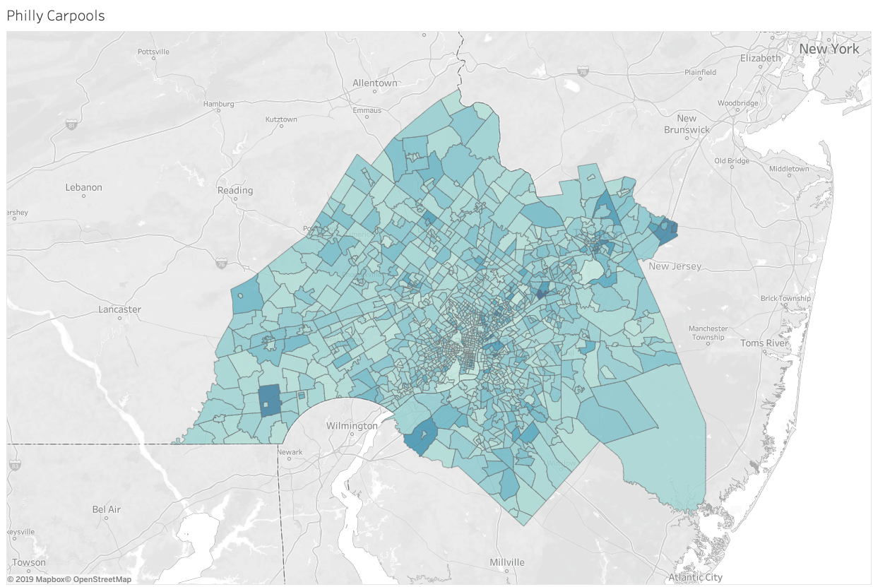 location data map showing where car-sharing happens in Philadelphia