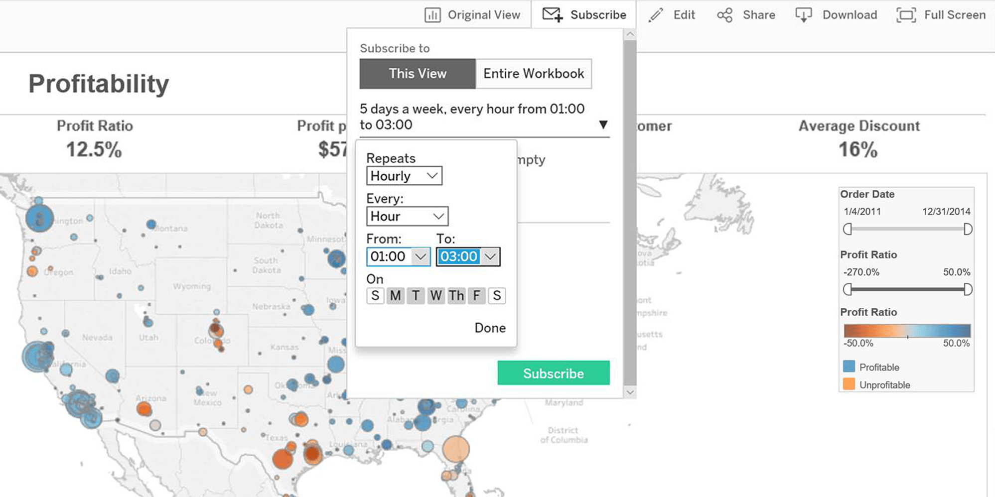 tableau viewer screenshot displaying customizable subscriptions feature