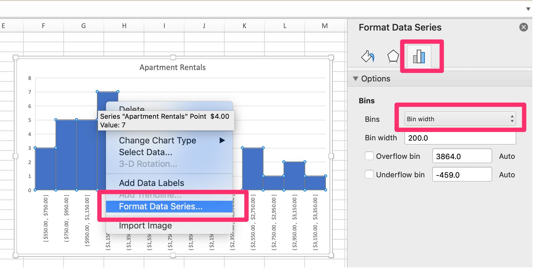 Edit Histogram Bins Excel