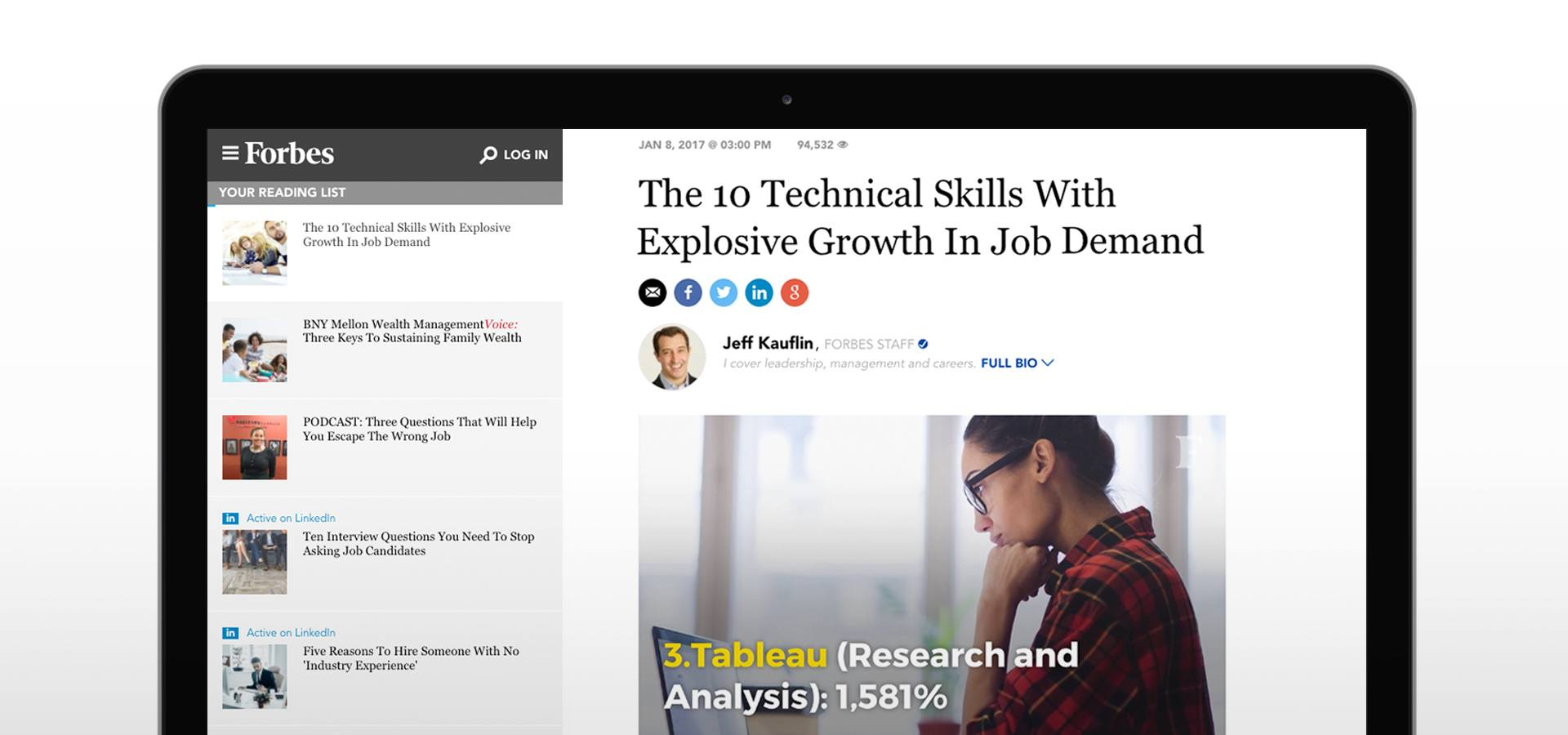 Tableau featured in Top Data Skills Forbes article