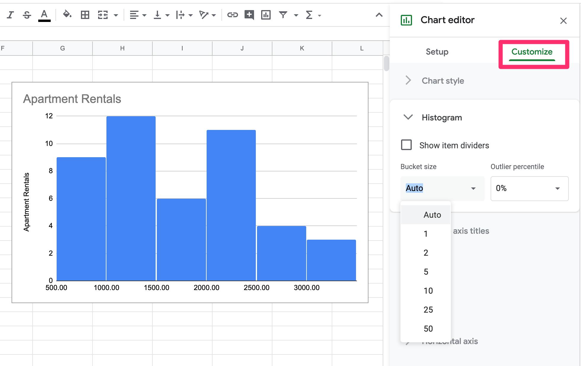 Google Sheets Histogram Edit Bin Size