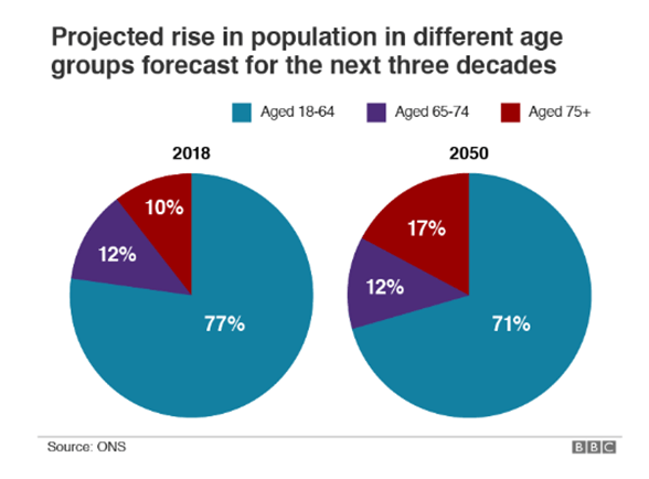 Projected rise in population pie chart