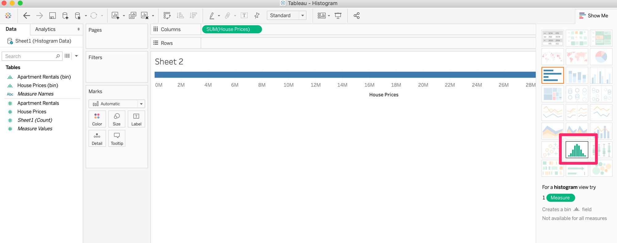 Show Me Histogram in Tableau